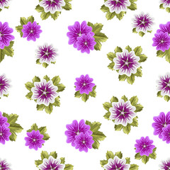Seamless floral pattern with mallows