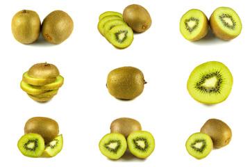 Isolated set of kiwi fruit slices cut on white background