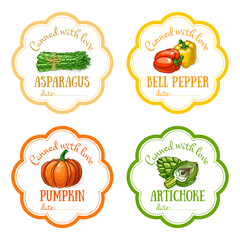 Set of vector labels with hand drawn vegetable. Templates for design can be used as sticker on canned jar, preserving, farmers market, organic food store
