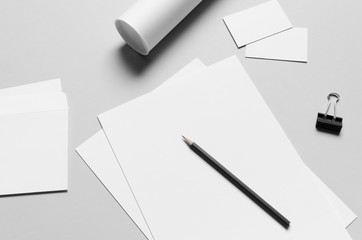 Branding / Stationery Mock-Up - White - Letterhead (A4), DL Envelope, Compliments Slip (99x210mm), Business Cards (85x55mm), Mailing Tube