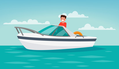Boat trip. Recreation. The man controls the boat. Vector illustr
