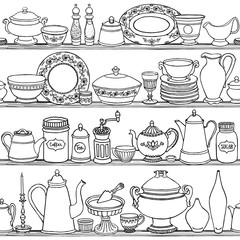 Shabby chic kitchen vector seamless pattern with cooking items. Hand drawn food and drink outline background