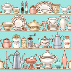 Shabby chic kitchen vector seamless pattern with cooking items. Hand drawn background of dishes on shelves in retro style.