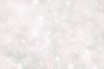 Christmas Background With Stars And Bokeh, Pink Color