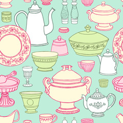 Shabby chic kitchen vector seamless pattern with cooking items. Hand drawn background of dishes in retro style .