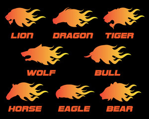 animal head fire logo
