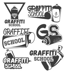 Vector set of graffiti school labels in vintage retro style. Street art design elements, icons, logo. Spray can.