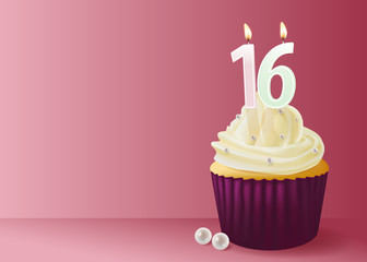 Vector illustration of cup cake with birthday candle 16.