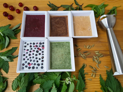 Berries mint homemade ice cream with nettle, cardamom, cinnamon