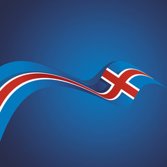 Abstract cover Iceland flag ribbon banner vector background