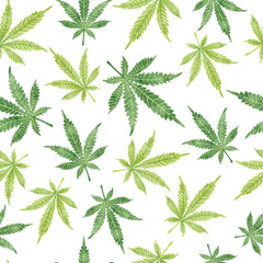 Watercolor marijuana leaves seamless pattern. Vector cannabis background.