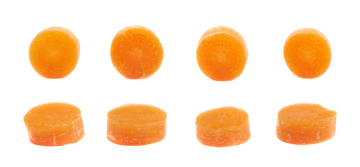Single baby carrot slice isolated