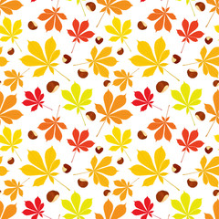 Autumn seamless pattern of chestnut leaves and nuts on white background. Cover design. Colourful vector illustration.