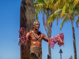 Duke Kahanamoku Statue on Waikiki Beach  in Honolulu. Wall mural