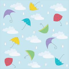 Autumn, summer background with umbrellas. Vector illustration fo