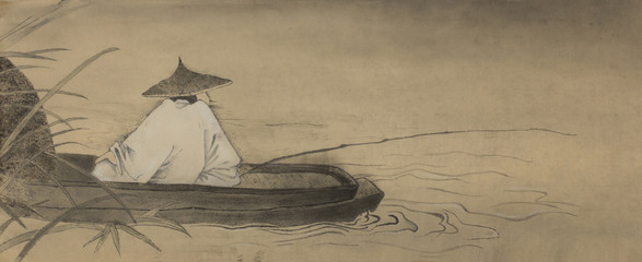 Chinese fisherman in a boat