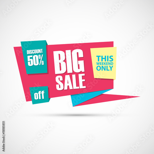 "Big Sales This Weekend: ""Big Sale, This Weekend Special Offer Banner, 50% Off"