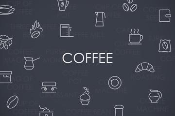 Coffee Thin Line Icons