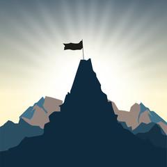 Man silhouette on mountain top
