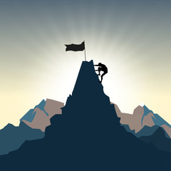 Man silhouette on mountain top