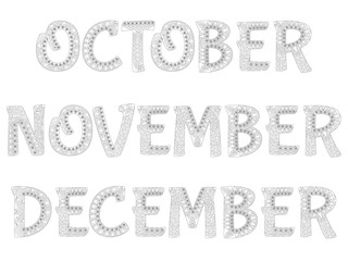 Names of months in the year. October,november,december. Collection 4/4 .Zentangle style. Antistress coloring book. Vector illustration.