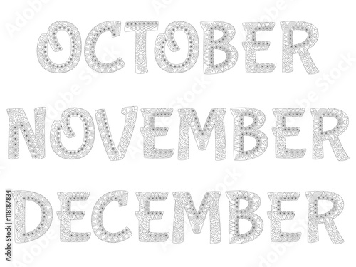 Names of months in the year  October,november,december
