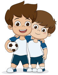 Cartoon soccer kids.Two friendly kid.