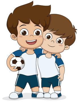 Cartoon soccer kids.Two friendly kid.