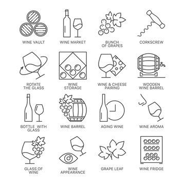 wine icons set isolated on white background
