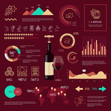 wine infographic on vinous background