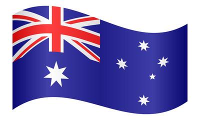 Flag of Australia waving on white background