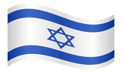 Flag of Israel waving on white background