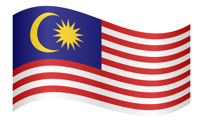Flag of Malaysia waving on white background