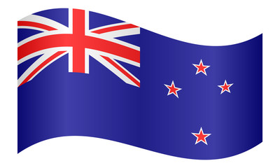 Flag of New Zealand waving on white background