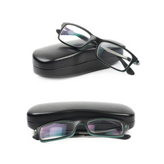 Black leather case for glasses isolated
