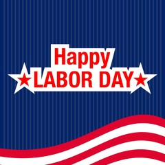 vector illustration with happy labor day lettering and usa waving flag  background