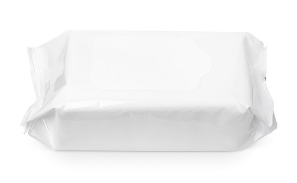 Wet wipes package with flap isolated on white