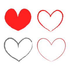 Heart Icon Four Color Variations. Vector.