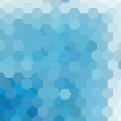 Abstract background consisting of blue hexagons.