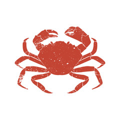 crab grunge silhouette isolated on white background.
