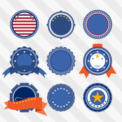Vector set of blank vintage labels with stars and ribbons in blue, red and white colors.