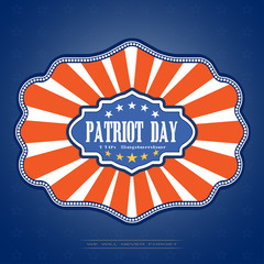 Patriot Day - vector picture on a gradient blue background with stars. Vector illustration of Patriot Day with badge on a dark blue background with stars.