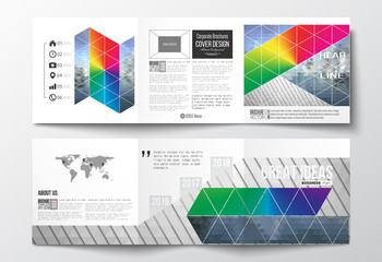 Set of tri-fold brochures, square design templates. Abstract colorful polygonal background, modern stylish triangle vector texture.