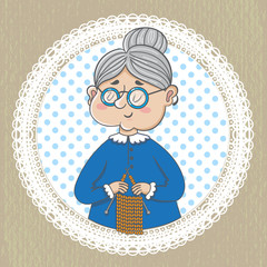funny illustration. Cute grandmother with with  knitting