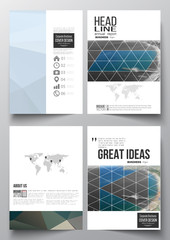Set of business templates for brochure, magazine, flyer, booklet or annual report. Colorful polygonal backdrop, blurred background, sea landscape, modern triangle vector texture