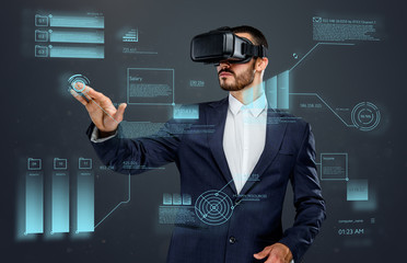 Male with virtual reality glasses.