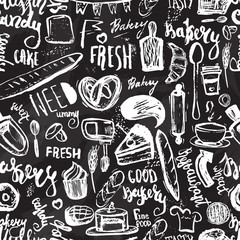 Bakery items Seamless pattern with lettering on dark chalkboard. Hand drawn vector illustration for menus, banners, recipes and packages.