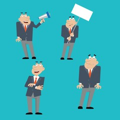 businessman shouting into a megaphone, holding a poster, evil boss. vector illustration of cartoon
