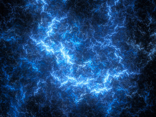 Blue glowing thunderbolt in space