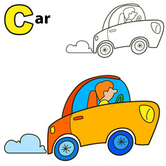 Car. Coloring book page. Cartoon vector illustration.